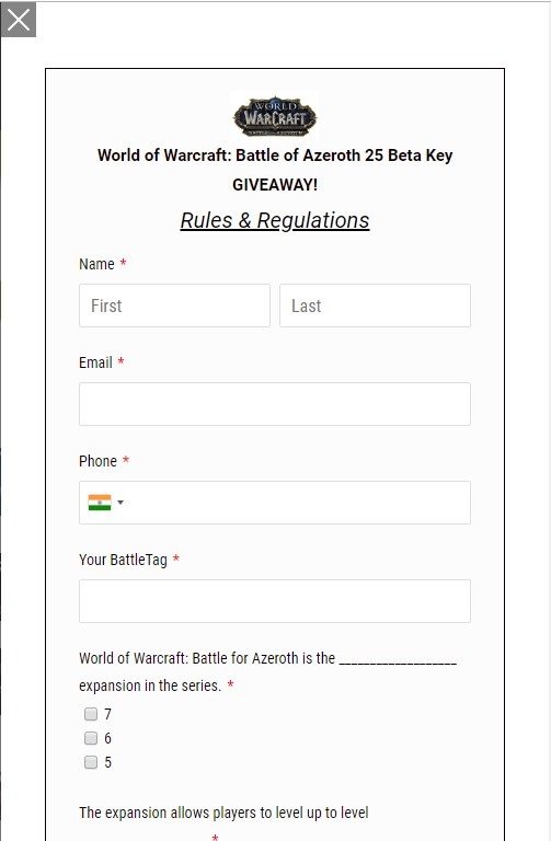 World of Warcraft: Battle for Azeroth Beta Contest
