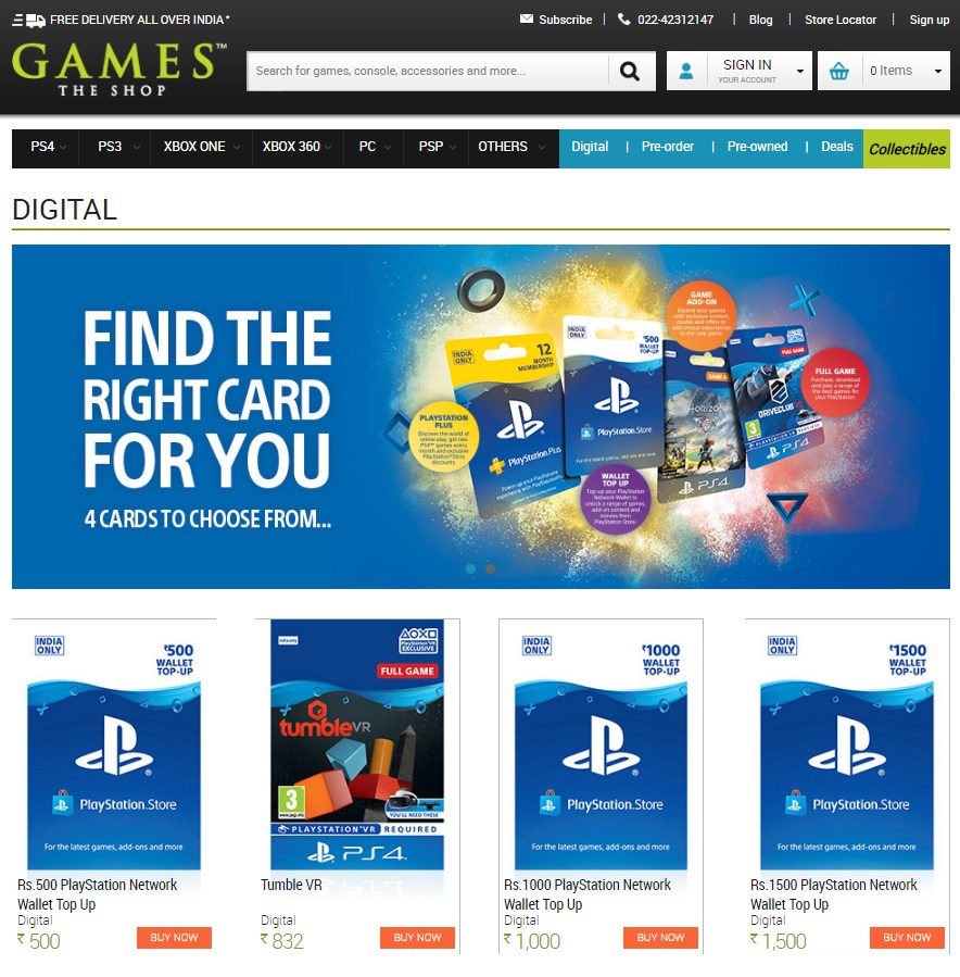 PlayStation Store Wallet Top Up in India