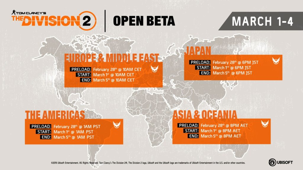 The Division 2 Open Beta Time Table